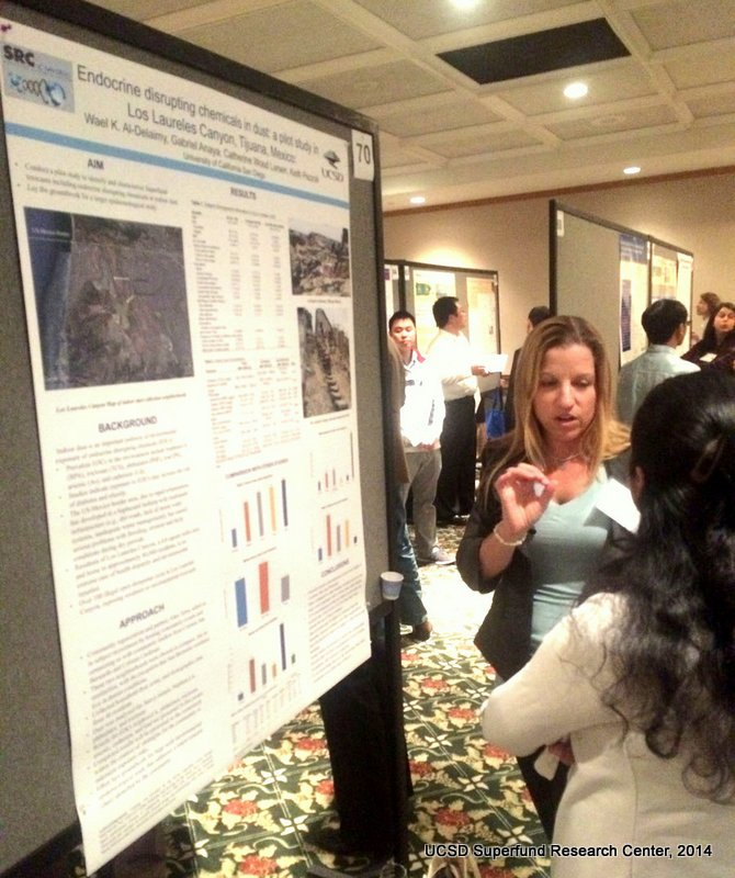 Catherine Larsen discusses CEC poster with a meeting attendee